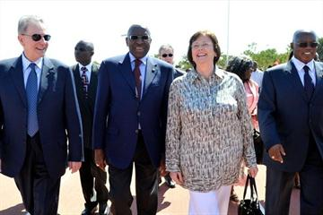 IOC President Jacques Rogge with IAAF President (2nd from left) at the opening of an IOC Youth Training Centre in Lusaka (IOC)