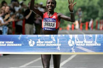 Lornah Kiplagat winning her fourth New York Mini 10k (Victah Sailer)