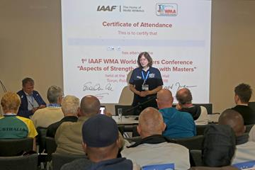 WMA President Margit Jungmann opening the first IAAF/WMA Masters Conference in Torun (IAAF)