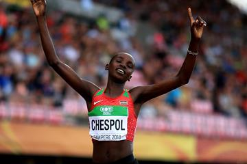 Kenya's Celiphine Chespol takes 3000m steeplechase gold at the IAAF World U20 Championships Tampere 2018 (Getty Images)