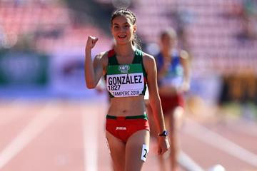 Alegna Gonzalez wins the 10,000m race walk at the IAAF World U20 Championships Tampere 2018 (Getty Images)
