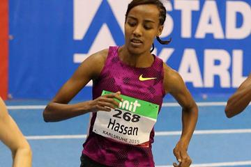 Sifan Hassan at the 2015 Indoor Meeting Karlsruhe (Gladys von der Laage)
