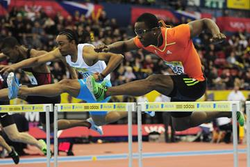 Dayron Robles and Aries Merritt in action in the 60m hurdles at the Birmingham Indoor Grand Prix (Getty Images)