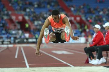Juan Miguel Echevarria leaps 8.66m in Ostrava ( Pavel Lebeda/organisers)
