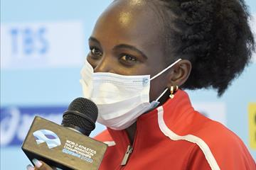 Peres Jepchirchir at the press conference for the World Athletics Half Marathon Championships Gdynia 2020 (Getty Images)