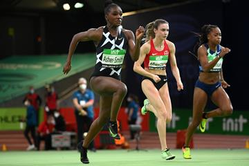 Dina Asher-Smith in action in the 60m at the World Athletics Indoor Tour meeting in Karlsruhe (Getty Images)