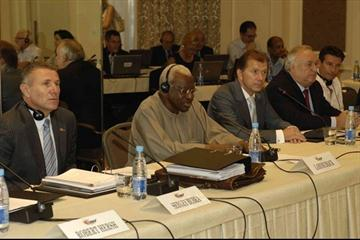 IAAF President Lamine Diack (c) presides over the first day of the IAAF Council Meeting in Kiev. From left: IAAF Senior Vice President Sergey Bubka, President Diack, Ukraine's Minister of Family, Youth and Sport Ravil Safiullin, and Valeriy Borzov. (IAAF.org)