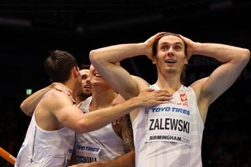 Poland's Karol Zalewski after setting a world indoor 4x400m record at the IAAF World Indoor Championships Birmingham 2018 (Getty Images)