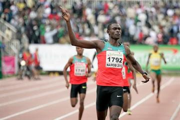 David Rudisha after his 1:42.84 African championships record in Nairobi (Mohammed Amin)