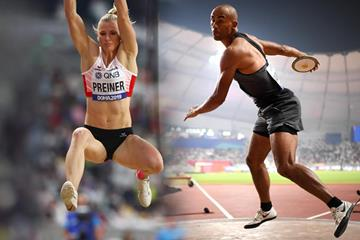 Austrian heptathlete Verena Preiner and Canadian decathlete Damian Warner at the IAAF World Athletics Championships Doha 2019 (Getty Images)
