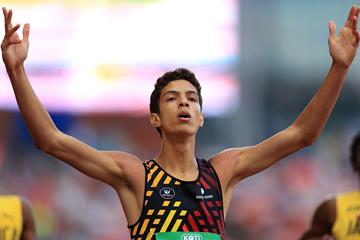 Jonathan Sacoor of Belgium after his upset 400m victory at the IAAF World U20 Championships Tampere 2018 (Getty Images)