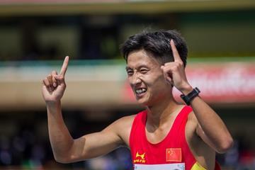 Zhang Yao after winning the boys' 10,000m race walk at the IAAF World U18 Championships Nairobi 2017 (Getty Images)