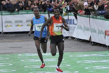 Ethiopia's Imane Merga on his way to victory at the 2012 Boclassic on 31 December (Daniele Mosna)