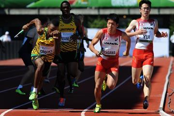 Japan and Jamaica in the 4x100m relay at the IAAF World Junior Championships, Oregon 2014 (Getty Images)