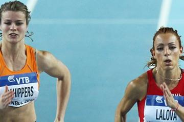 Dafne Schippers of the Netherlands (L) and Ivet Lalova of Bulgaria compete in the Women's 60 Metres first round during day two - WIC Istanbul (Getty Images)