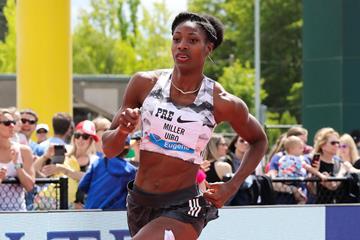 Shaunae Miller-Uibo en route to a big 400m win in Eugene (Victah Sailer)