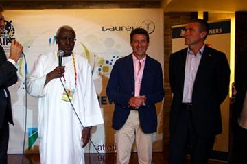 AIPS press lunch, Daegu - President Diack is interviewed; alonside Seb Coe, Sergey Bubka and Gianni Merlo (Getty Images)