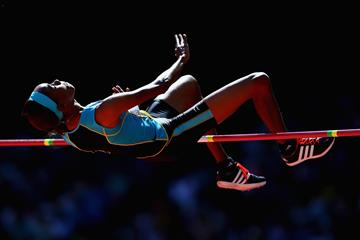 Levern Spencer in the high jump at the IAAF World Championships (Getty Images)