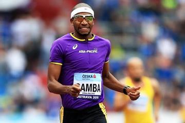 Abderrahman Samba en route to the Continental Cup 400m hurdles title (Getty Images)