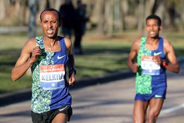 Kelkile Gezahegn on his way to winning the Houston Marathon (Victah Sailer / organisers)