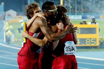 USA, winners of the men's 4x800m at the IAAF/BTC World Relays, Bahamas 2015 (Getty Images)