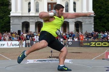 Joe Kovacs on his way to winning the US shot put title (Kirby Lee)