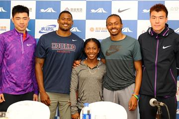 Xie Wenjun, David Oliver, Shelly-Ann Fraser-Pryce, Aries Merrit and Li Jinzhe at the press conference ahead of the IAAF Diamond League meeting in Shanghai (Errol Anderson)