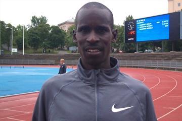 Josephat Kiprono Menjo after his world season 10,000m lead in Turku, Finland (Mirko Jalava)