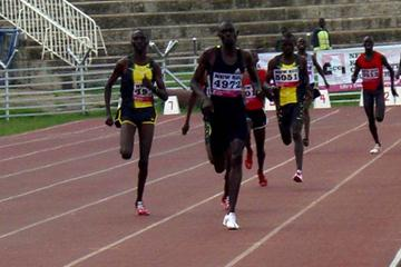 David Rudisha and Asbel Kiprop in a thrilling sprint finish of the 800m at the Kenyan African Championships trials (Peter Njenga)