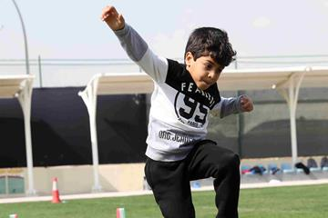 Local children participate in an IAAF Kids Athletics event in Doha (Doha 2019 LOC)