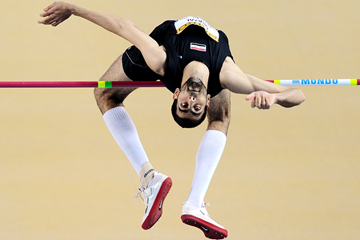Syria's Majd Eddin Ghazal in action in the high jump (AFP / Getty Images)