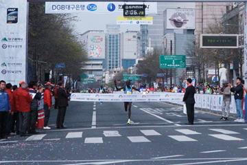 Abraham Kiptum wins the Daegu Marathon (Organisers)
