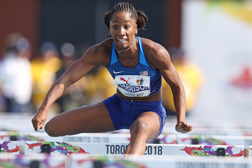 USA's Kendra Harrison in the 100m hurdles at the NACAC Championships (Claus Andersen)