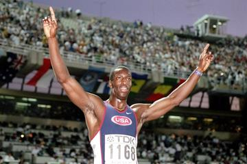 Michael Johnson after winning the 400m at the 1997 IAAF World Championships (Getty Images)