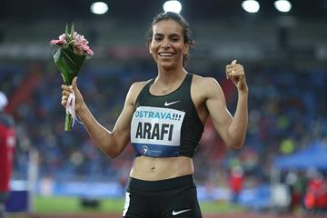 Rababe Arafi after her 800m win in Ostrava (Pavel Lebeda/organisers)