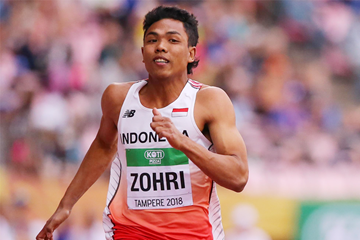 Lalu Muhammad Zohri in the 100m at the IAAF World U20 Championships Tampere 2018 (Roger Sedres)