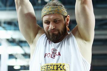 Poland's Tomasz Majewski in action in the shot at the IAAF World Indoor Championships (Getty Images)