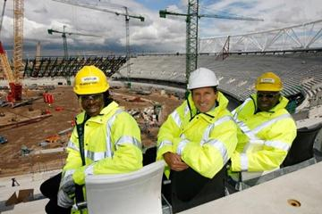 IAAF President Lamine Diack (R) poses with Lord Sebastian Coe, Chairman of the London 2012 Organising Committee, and World & Olympic champion Christine Ohuruogu on a visit to London to view the construction of the 2012 Olympic Park - 15 May 2009 in London (Getty Images)