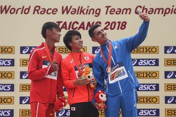 20km medallists Wang Kaihua, Koki Ikeda and Massimo Stano at the IAAF World Race Walking Team Championships Taicang 2018 (Getty Images)