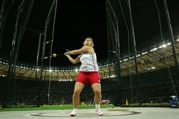 Anita Wlodarczyk of Poland in the hammer throw cage in the women's Hammer final at the 12th IAAF World Championships in Athletics (Getty Images)