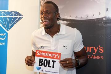 Usain Bolt at the pre-event press conference for the 2013 IAAF Diamond League meeting in London (Kirby Lee)