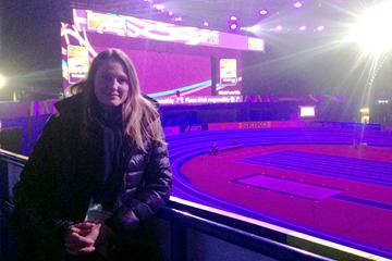 Athlete representative Stina Funke at the IAAF World Indoor Championships Birmingham 2018 ()