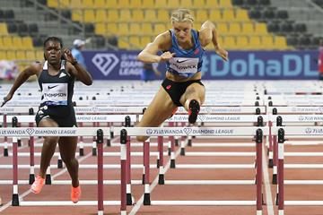 Payton Chadwick on her way to winning the 100m hurdles at the Wanda Diamond League meeting in Doha (AFP / Getty Images)