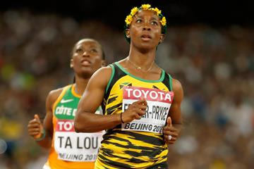 Shelly-Ann Fraser-Pryce after her 100m semi-final at the IAAF World Championships, Beijing 2015 (Getty Images)