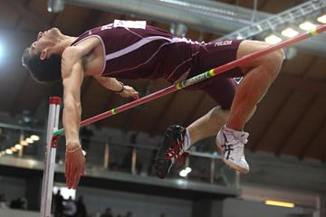 Silvano Chesani tops 2.31m at the 2012 Italian indoor championships in Ancona (Giancarlo Colombo/FIDAL)