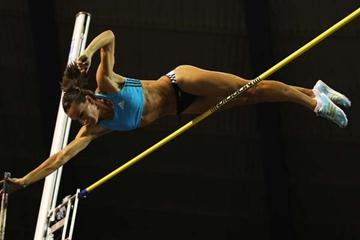 Yelena Isinbayeva of Russia during the Women's Pole Vault (Getty Images)