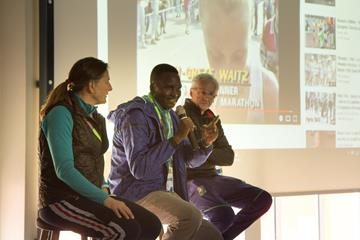 Former world cross country champions Lynn Jennings, Paul Tergat and John Treacy during a presentation for primary school students from the Aby Skole school in Aarhus, Denmark (Bob Ramsak)