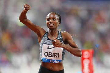 Hellen Obiri wins the 3000m at the Diamond League meeting in Doha (Getty Images)