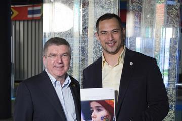IOC President Thomas Bach with Koji Murofushi (IOC)