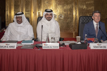 IAAF Vice President Dahlan Al Hamad, LOC President HE Sheikh Joaan bin Hamad al-Thani and IAAF President Sebastian Coe at the IAAF Council Meeting in Doha (LOC)